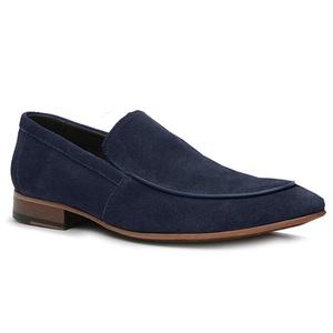 Sapato Loafer Casual Premium em Couro Camurça Azul... - TCHWM SHOES