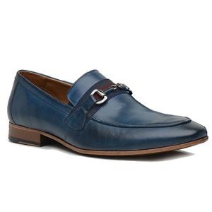 Sapato Loafer Casual Premium em Couro Azul - 58856... - TCHWM SHOES