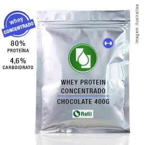 Whey Protein Concentrado 80% Chocolate 400g Refil