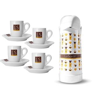 Combo com 4 Xícaras com Pires + Garrafa Térmica La... - Café LaSanté Shop | O Mais Puro Prazer do Café