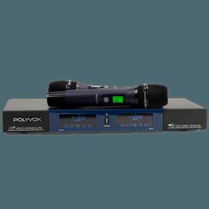 Microfone Profissional Duplo Sem Fio UHF Visor Digital Touch... - POLYVOX