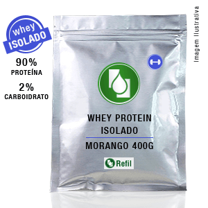Whey Protein Isolado 90% Morango 400g Refil