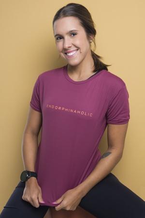 Camiseta Feminina Funfit - Endorphinaholic Bordô -... - FUNFIT