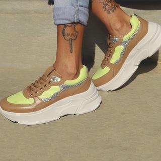 Tênis De Couro Dad Sneaker Chunky De Griffe Recort... - FRANCA GRIFFE