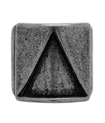 Anel Placa Triângulo Inoxidável Prata Velho - MANTOAN LOJA