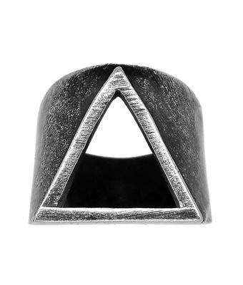 Anel Triângulo Aço Inoxidável Prata Velho - MANTOAN LOJA