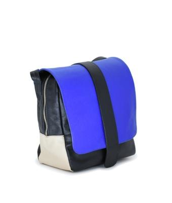 Bolsa Transversal Couro Preto/Azul 742 - MANTOAN LOJA