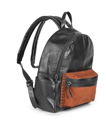 Mochila Couro Preto com bolso Caramelo MC746 - MANTOAN LOJA