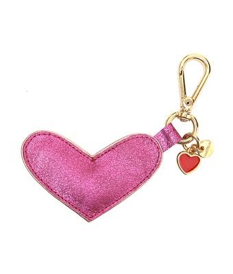 Chaveiro Coração Couro Legítimo Metalizado Pink - MANTOAN LOJA