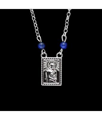 Escapulário Inoxidável Níquel Lápis Lazuli - MANTOAN LOJA