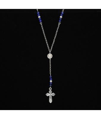 Colar Terço Cruz Com Pedras Naturais Lápis Lazuli - MANTOAN LOJA