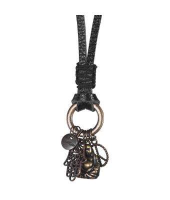 Colar Couro Mantoan - Preto/amuleto - MANTOAN LOJA