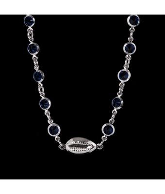 Choker Búzio Mini Zircônia Azul Semijoia RB - MANTOAN LOJA