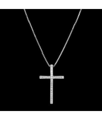 Colar Cruz Cravejada Zircônia Incolor 2,6 x 1,6 cm... - MANTOAN LOJA