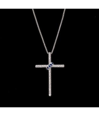 Colar Cruz Cravejada Zircônia Safira Prata 925 - MANTOAN LOJA