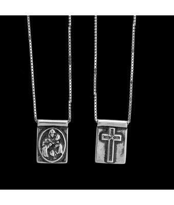 Escapulário Sagrado Coração de Jesus & Cruz Prata ... - MANTOAN LOJA