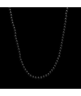 Colar Pedra Ônix Negra Esfera 2mm Prata 925 - MANTOAN LOJA