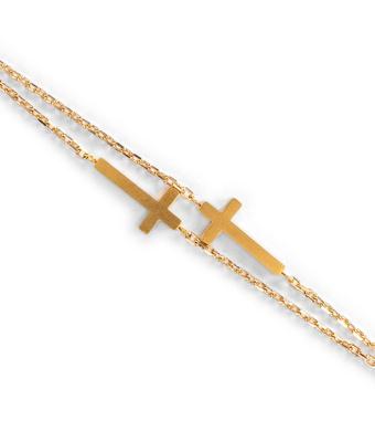 Pulseira Cruz Corrente Cartier Semijoia Ouro - MANTOAN LOJA