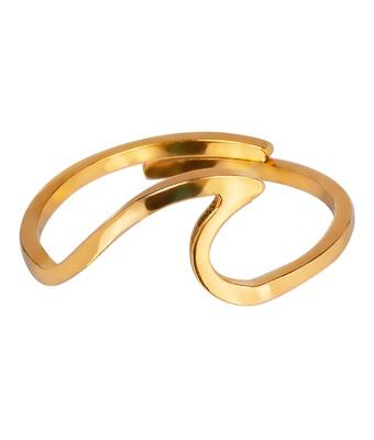 Anel Falange Regulável Onda Aço Inox Dourado - MANTOAN LOJA