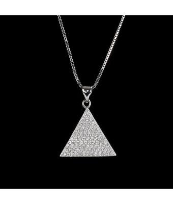 Colar Triângulo Cravejado Incolor Semijoia RB - MANTOAN LOJA
