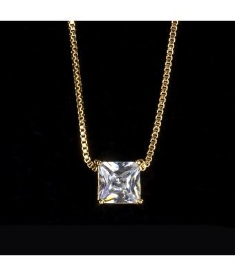 Colar Zircônia Incolor Quadrado 6x6mm Ouro - MANTOAN LOJA