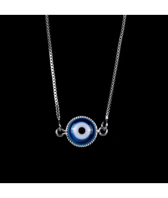 Escapulário Olho Grego Emoldurado Azul Turquesa Se... - MANTOAN LOJA