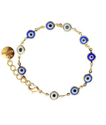 Pulseira Olho Grego Azul Murano Ouro - MANTOAN LOJA