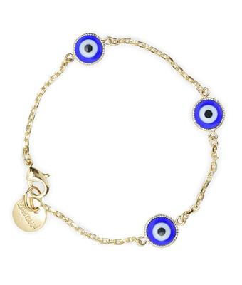 Pulseira Olho Grego Azul Ouro - MANTOAN LOJA