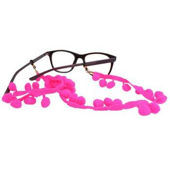 Cordão para Óculos Bolinhas Pompom Rosa Neon
