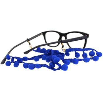 Cordão para Óculos Bolinhas Pompom Azul
