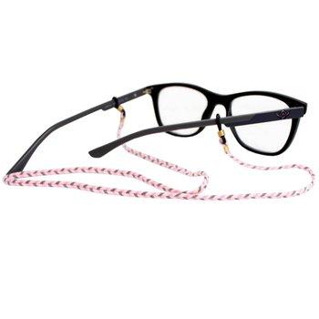 Cordão para Óculos Trancinha Bem Fina Cinza Rosa