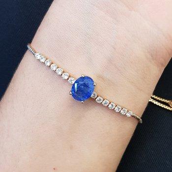 Pulseira Gravatinha Zircônia Dourado Azul