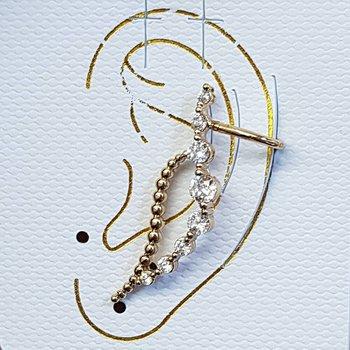 Brinco Ear Cuff Zirconia Dourado
