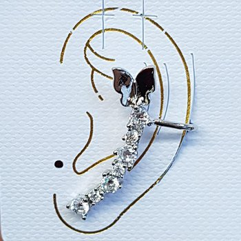 Brinco Ear Cuff Zirconia Prata