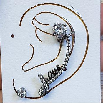 Brinco Ear Cuff Zirconia Grafite