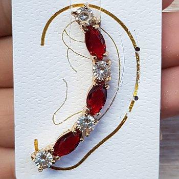 Brinco Ear Cuff Zirconia Dourado Vermelho
