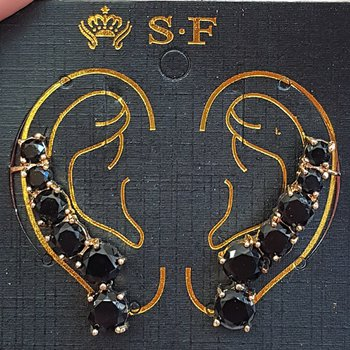 Par De Brincos Ear Cuff Médio Zircônia Dourado Pre...