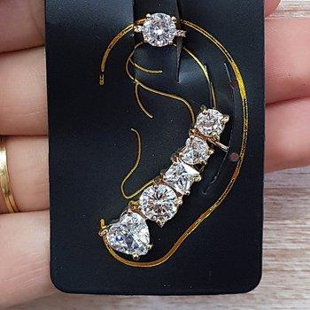 Kit De Brinco Ear Cuff e Piercing Fake Dourado Bra...