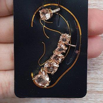 Kit De Brinco Ear Cuff e Piercing Fake Dourado Ros...