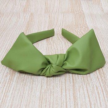 Tiara Laço Central Courinho Verde