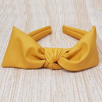 Tiara Laço Central Courinho Amarelo