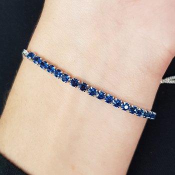 Pulseira Gravatinha Zircônia Prata Azul Escuro