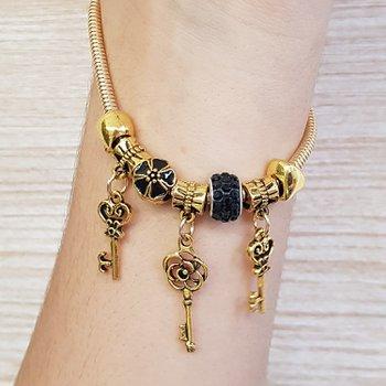 Pulseira Pandora Chaves Dourado Velho Preto