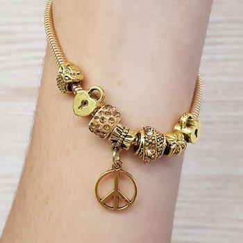 Pulseira Pandora Símbolo Da Paz Dourado Velho Cham...