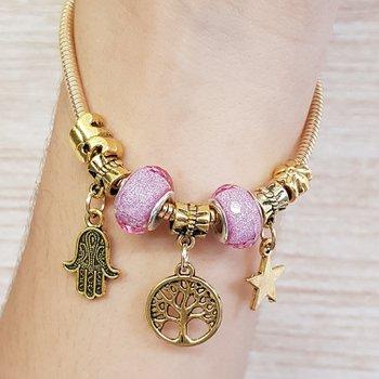 Pulseira Pandora Árvore Da Vida Dourado Velho Rosa...