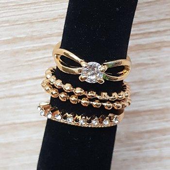 Kit De Anéis Dourado Branco