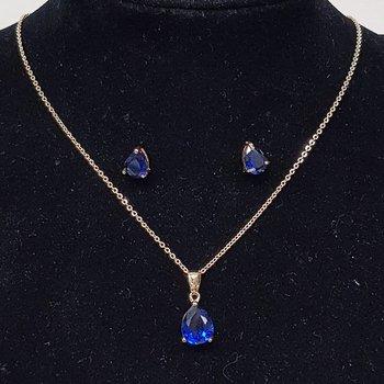 Conjunto Zircônia Gota Dourado Azul Marinho