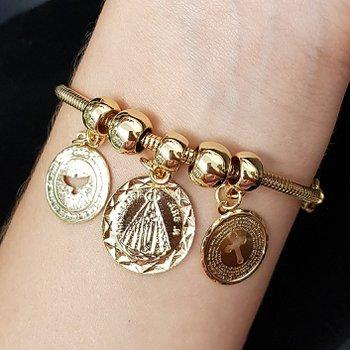 Pulseira Folheada Dourada Pandora Nossa Senhora Ap...