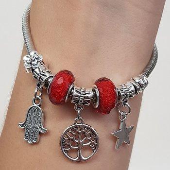 Pulseira Pandora Árvore Da Vida Prata Vermelho