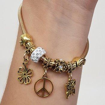 Pulseira Pandora Símbolo Da Paz Dourado Velho Bran...